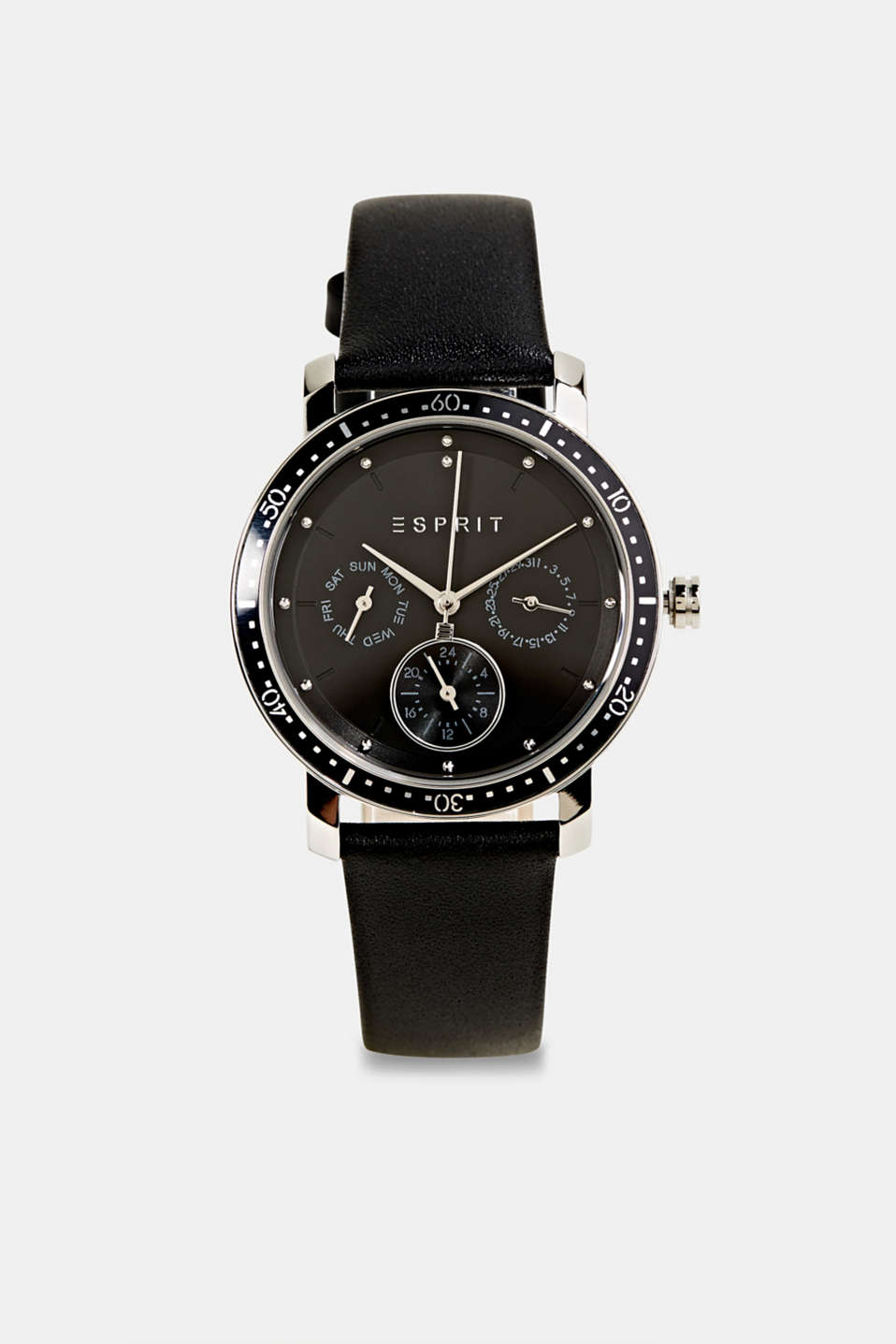 Multi-functional watch with a leather strap, LCBLACK, detail image number 0