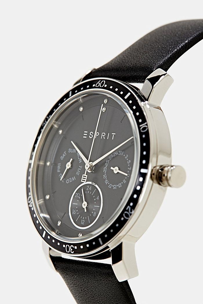 Multifunctioneel horloge met leren bandje, BLACK, detail image number 1