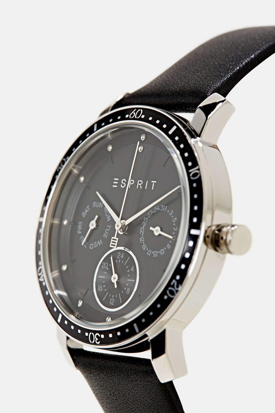 Multi-functional watch with a leather strap, LCBLACK, detail image number 1