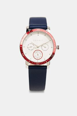 Multi-functional watch with a leather strap, BLUE, detail