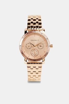 Multi-functional stainless-steel watch, ROSEGOLD, detail