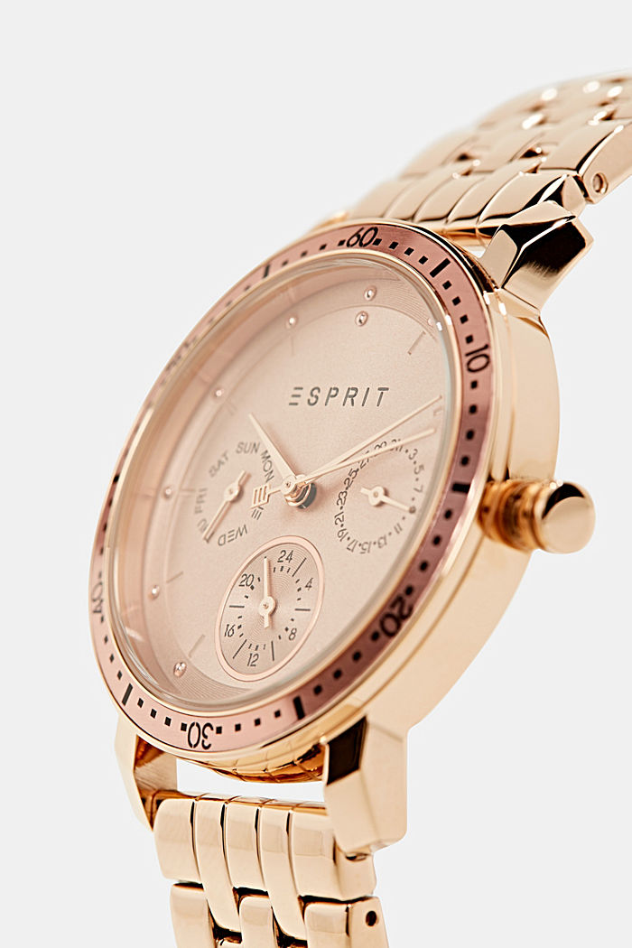 Multi-functional stainless-steel watch, ROSEGOLD, detail image number 1