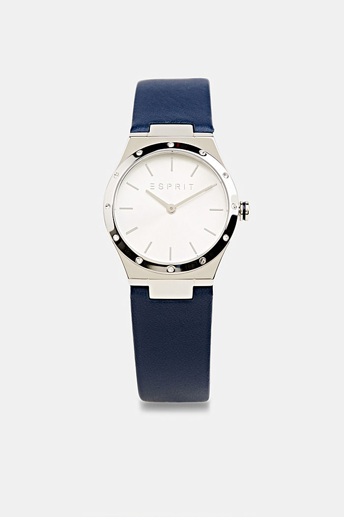 Stainless-steel watch with zirconia and a leather strap, BLUE, detail image number 0