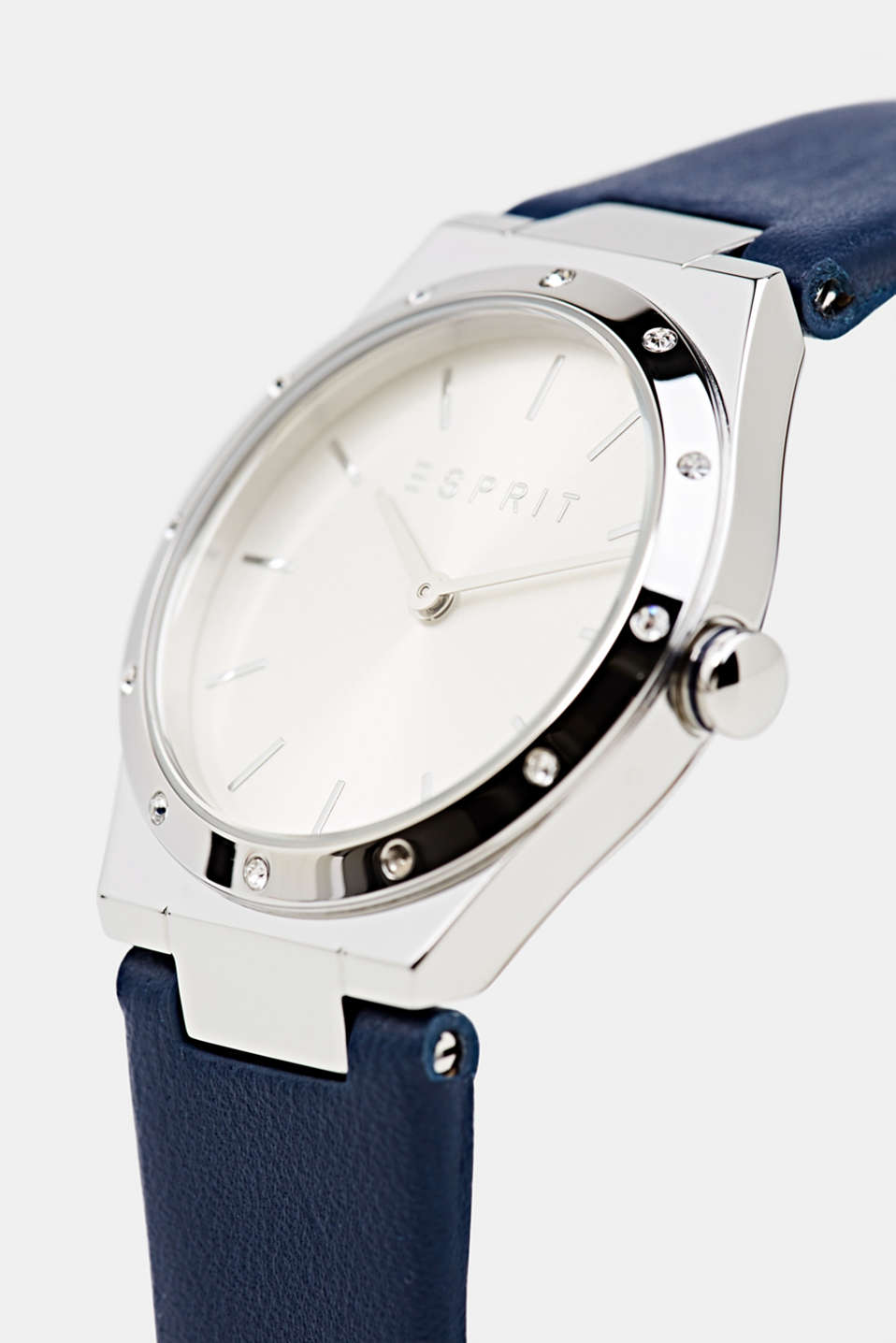 Stainless-steel watch with zirconia and a leather strap, LCBLUE, detail image number 1