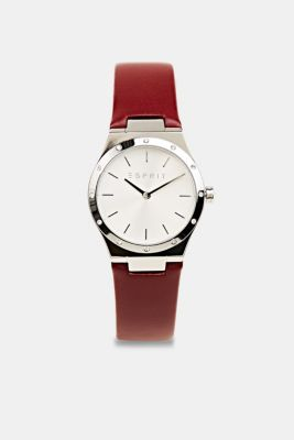 Stainless-steel watch with zirconia and a leather strap, BORDEAUX RED, detail