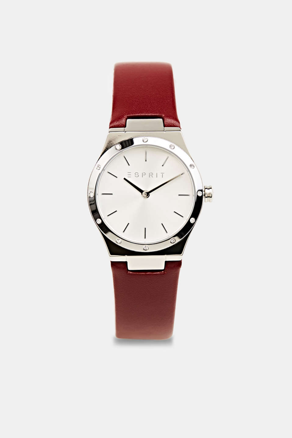 Stainless-steel watch with zirconia and a leather strap, LCBORDEAUX RED, detail image number 0