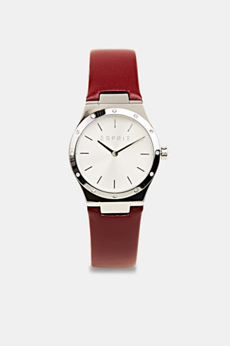 Stainless-steel watch with zirconia and a leather strap