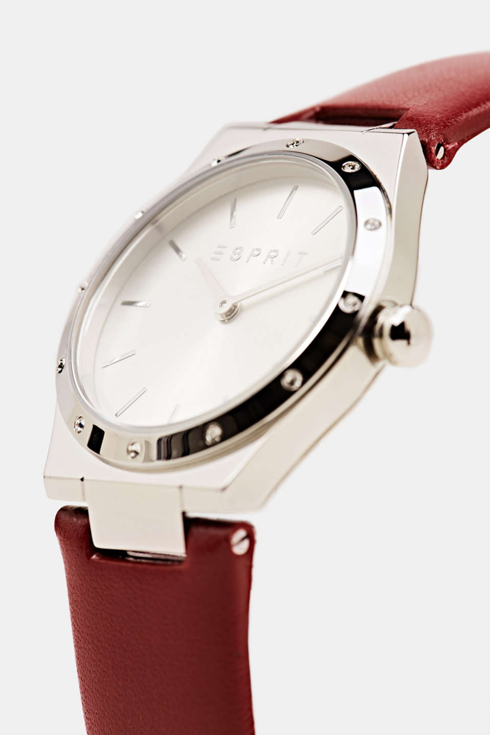 Stainless-steel watch with zirconia and a leather strap, LCBORDEAUX RED, detail image number 1