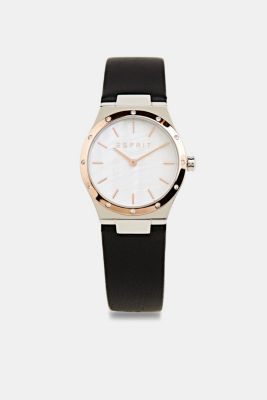 Stainless-steel watch with zirconia and a leather strap, LCBLACK, detail
