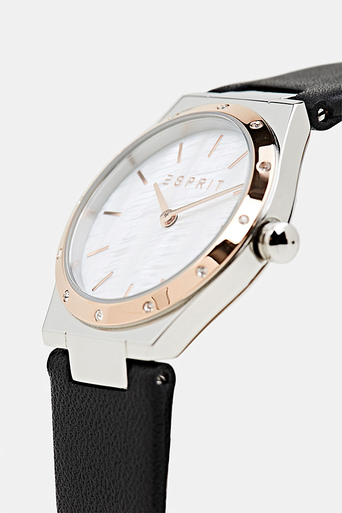 Stainless-steel watch with zirconia and a leather strap, BLACK, detail image number 1