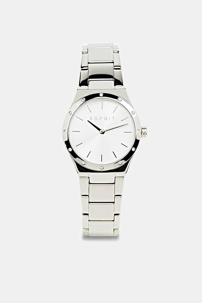 Edelstahl-Uhr mit Zirkonia, SILVER, detail image number 0