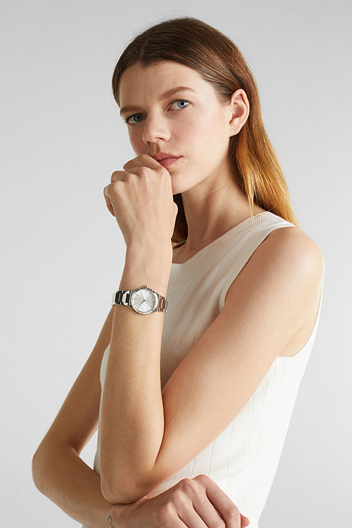 Edelstahl-Uhr mit Zirkonia, SILVER, detail image number 2