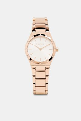 Stainless-steel watch with rose gold plating, ROSEGOLD, detail