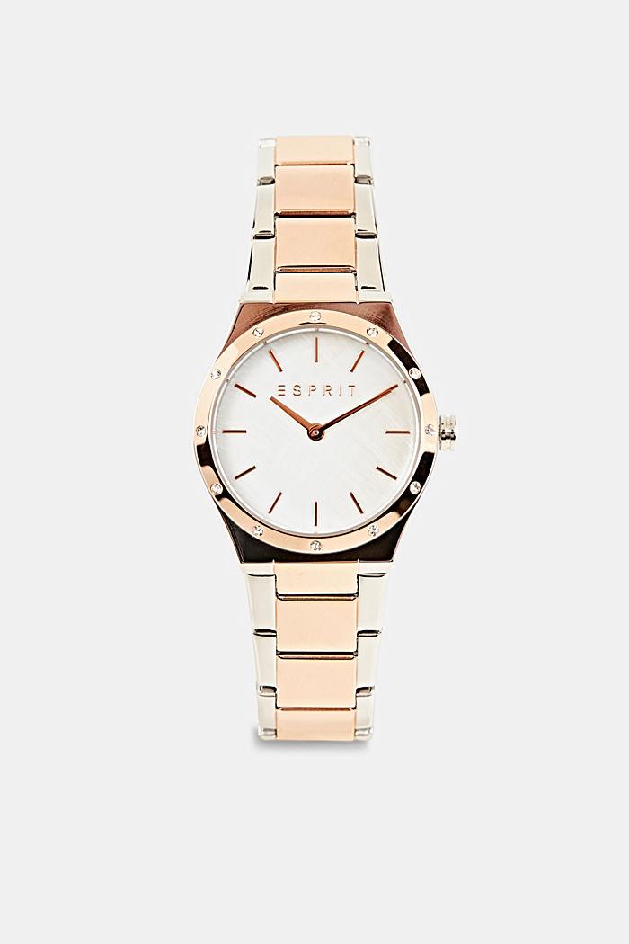 Reloj con circonita, acero inoxidable, ROSEGOLD, detail image number 0