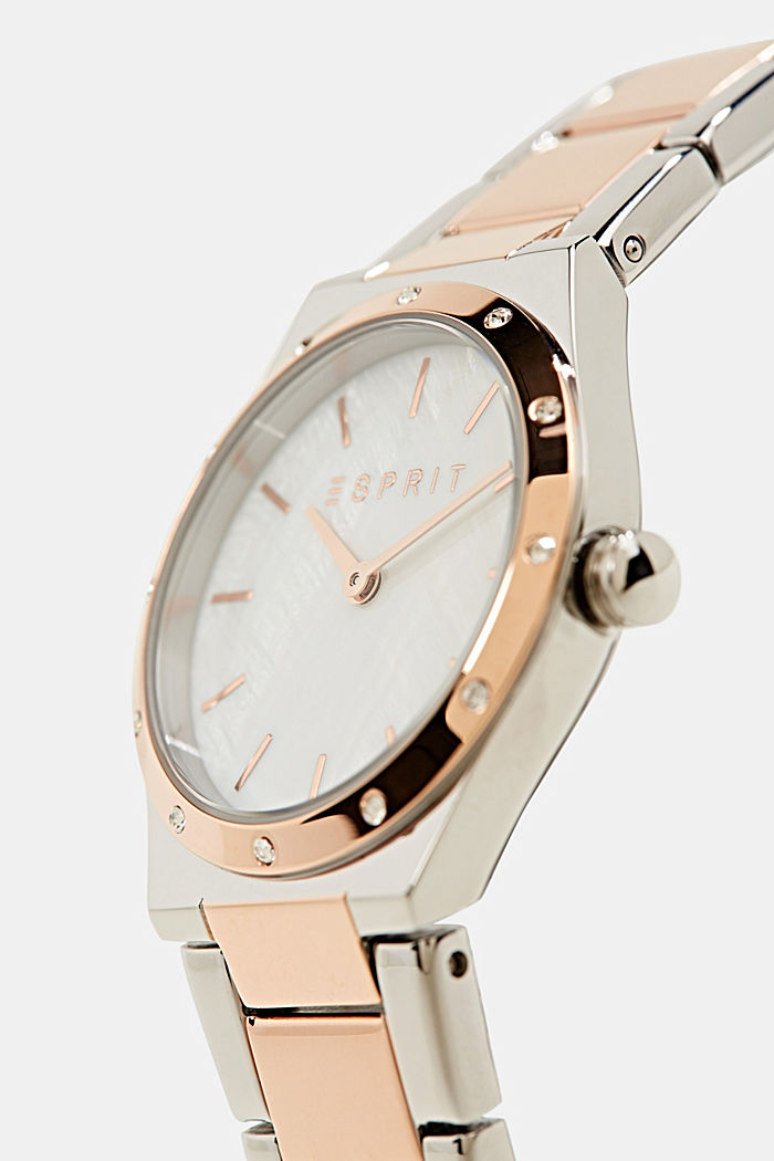 Reloj con circonita, acero inoxidable, ROSEGOLD, detail image number 1