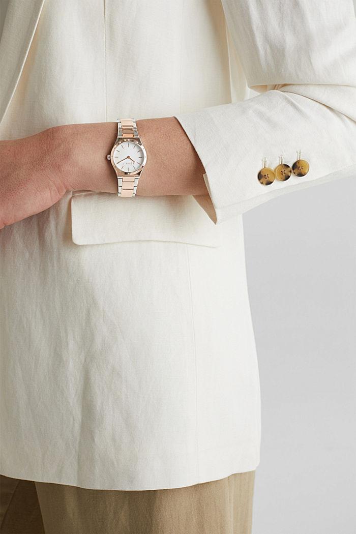 Reloj con circonita, acero inoxidable, ROSEGOLD, detail image number 2
