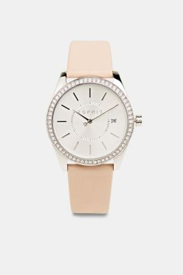 Stainless-steel watch with zirconia and a leather strap, LCBEIGE, detail