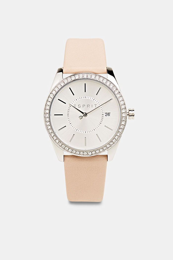 Stainless-steel watch with zirconia and a leather strap, BEIGE, detail image number 0