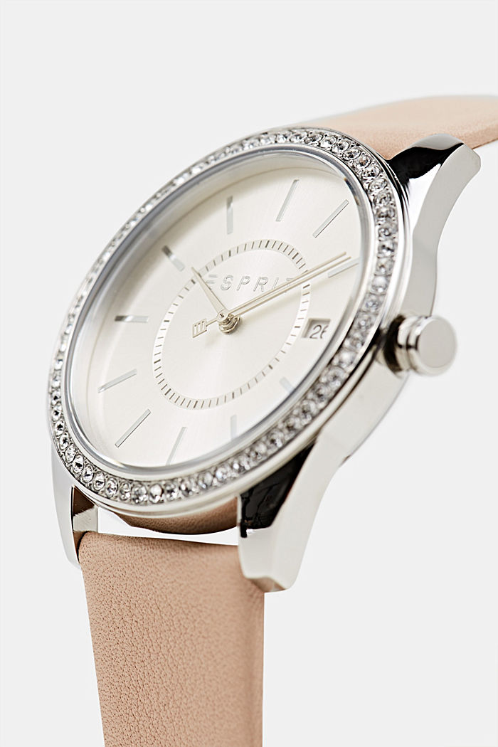 Stainless-steel watch with zirconia and a leather strap, BEIGE, detail image number 1