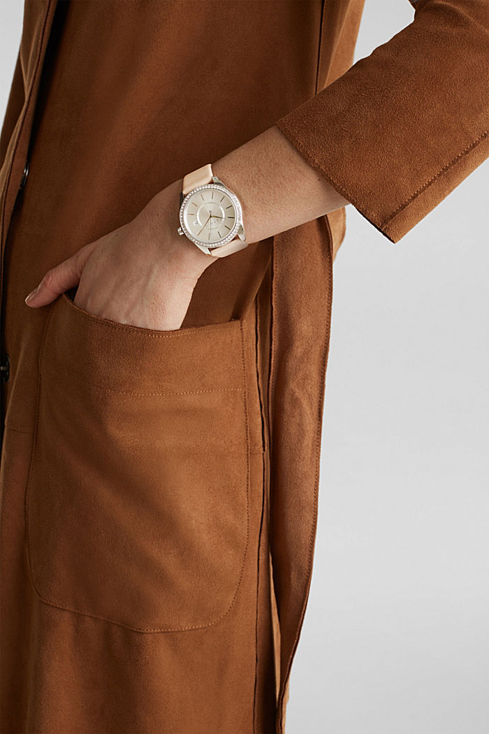 Stainless-steel watch with zirconia and a leather strap, BEIGE, detail image number 2