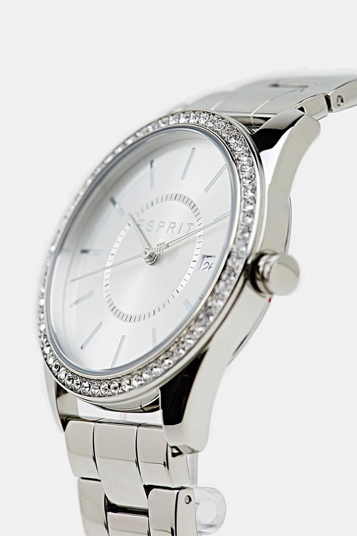 Edelstahl-Uhr mit Zirkonia, SILVER, detail image number 1