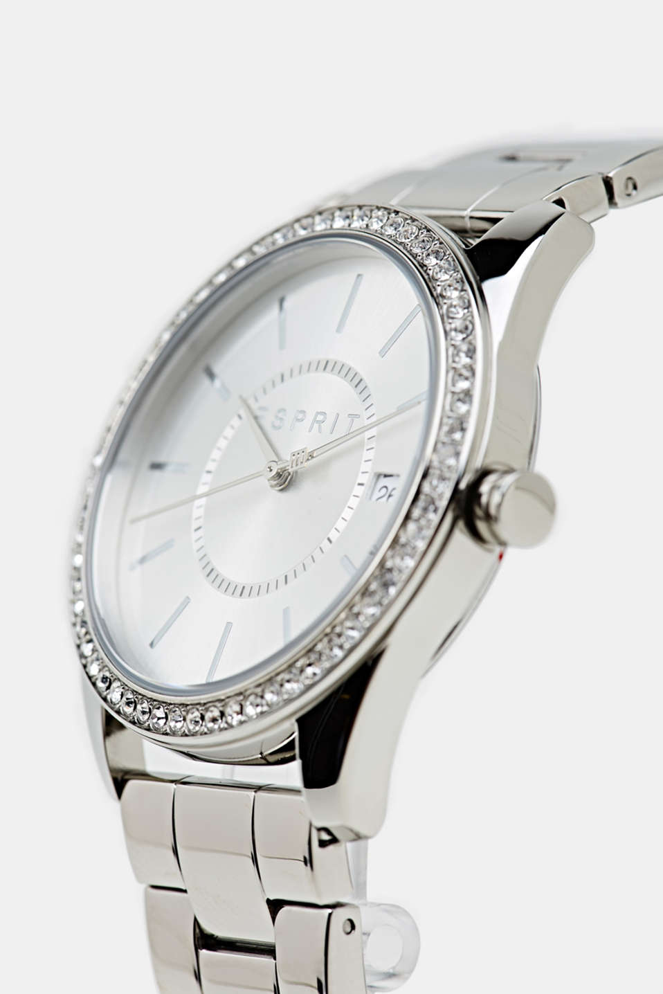 Gemstone watch with zirconia, LCSILVER, detail image number 1