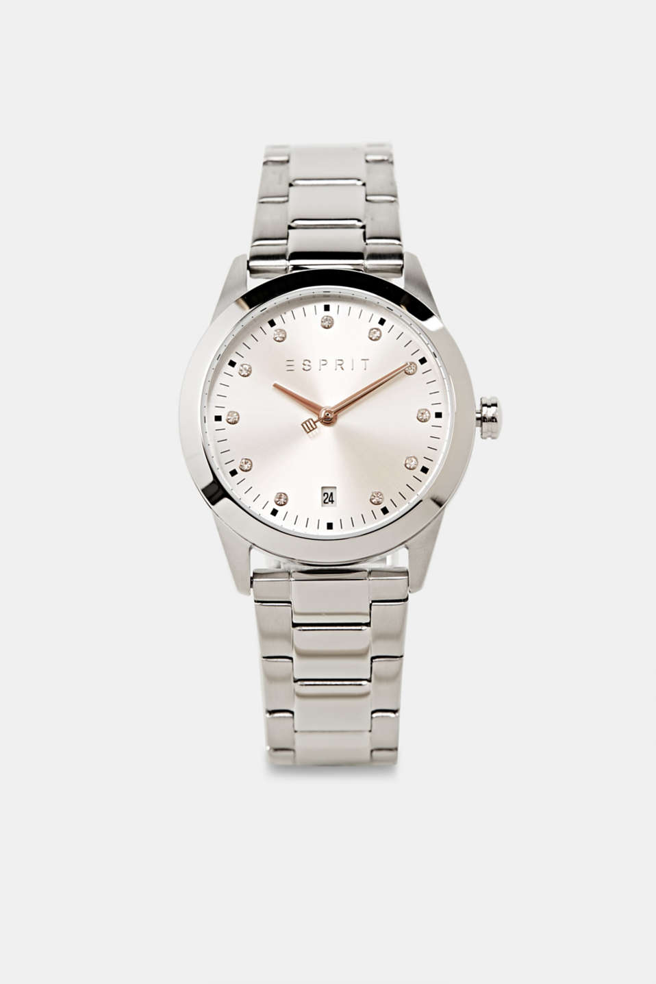 Stainless steel watch with zirconia, LCSILVER, detail image number 0