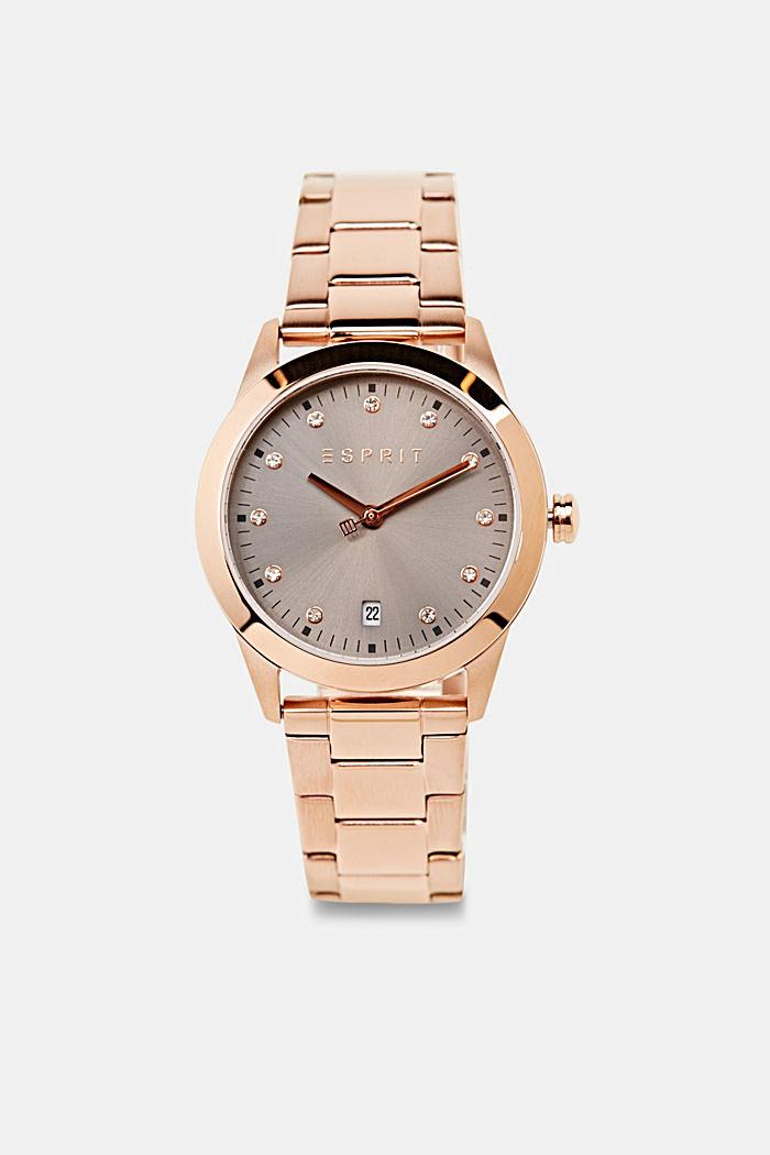 Edelstahl-Uhr mit Roségold-Plattierung