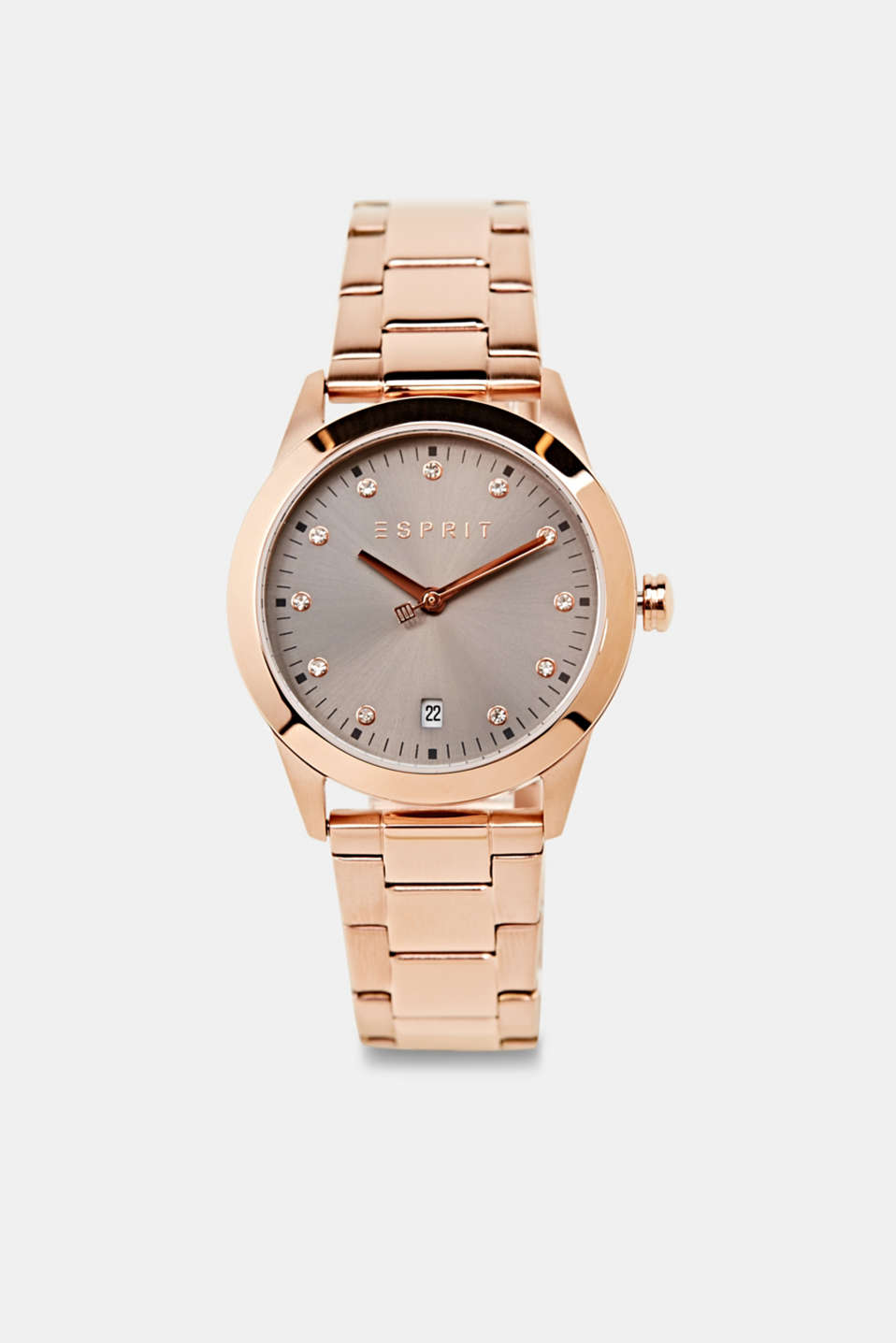 Stainless-steel watch with rose gold plating, LCROSEGOLD, detail image number 0