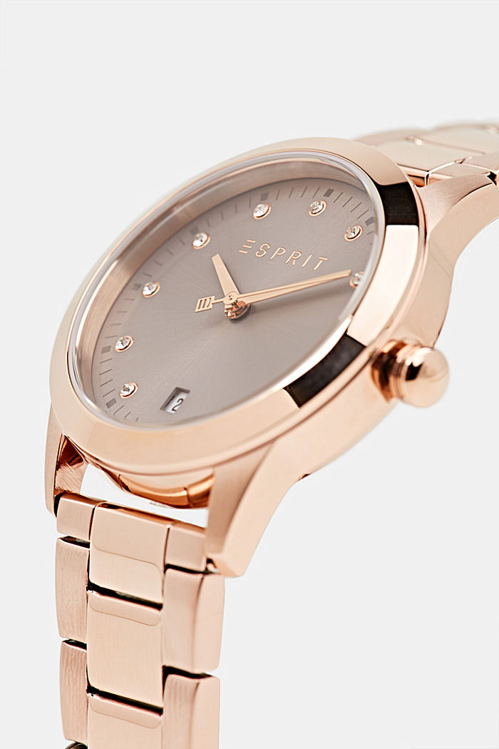Stainless-steel watch with rose gold plating, ROSEGOLD, detail image number 1