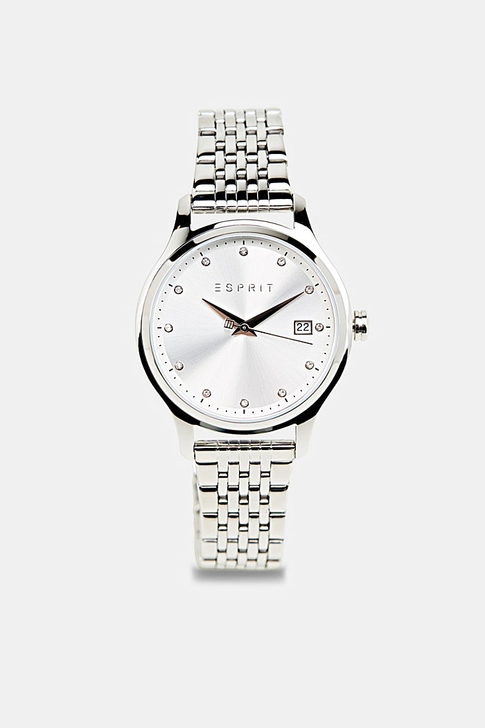 Bracelet and watch set, stainless steel, SILVER, detail image number 0