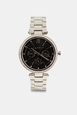 Multifunctional watch with zirconia, made of stainless steel, SILVER, detail