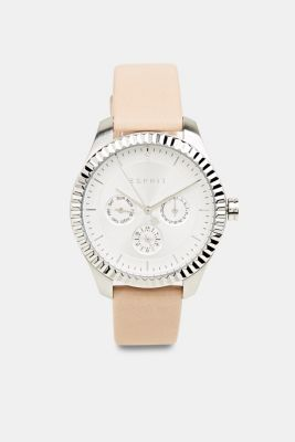 Multi-functional watch with a leather strap, LCBEIGE, detail