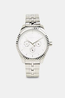 Multi-functional watch with a fluted bezel, SILVER, detail