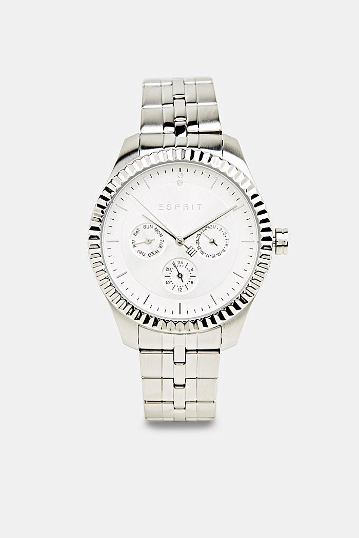Multifunctioneel horloge met geribbelde horlogering, SILVER, detail image number 0