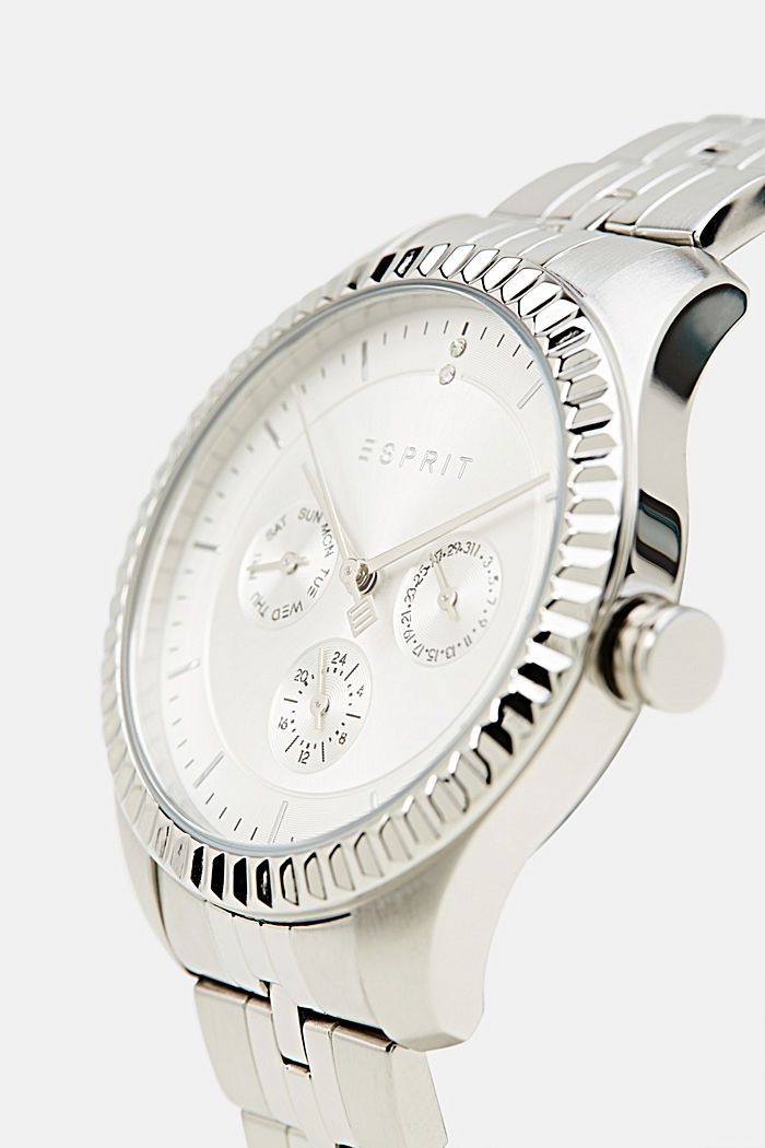 Multi-functional watch with a fluted bezel, SILVER, detail image number 3