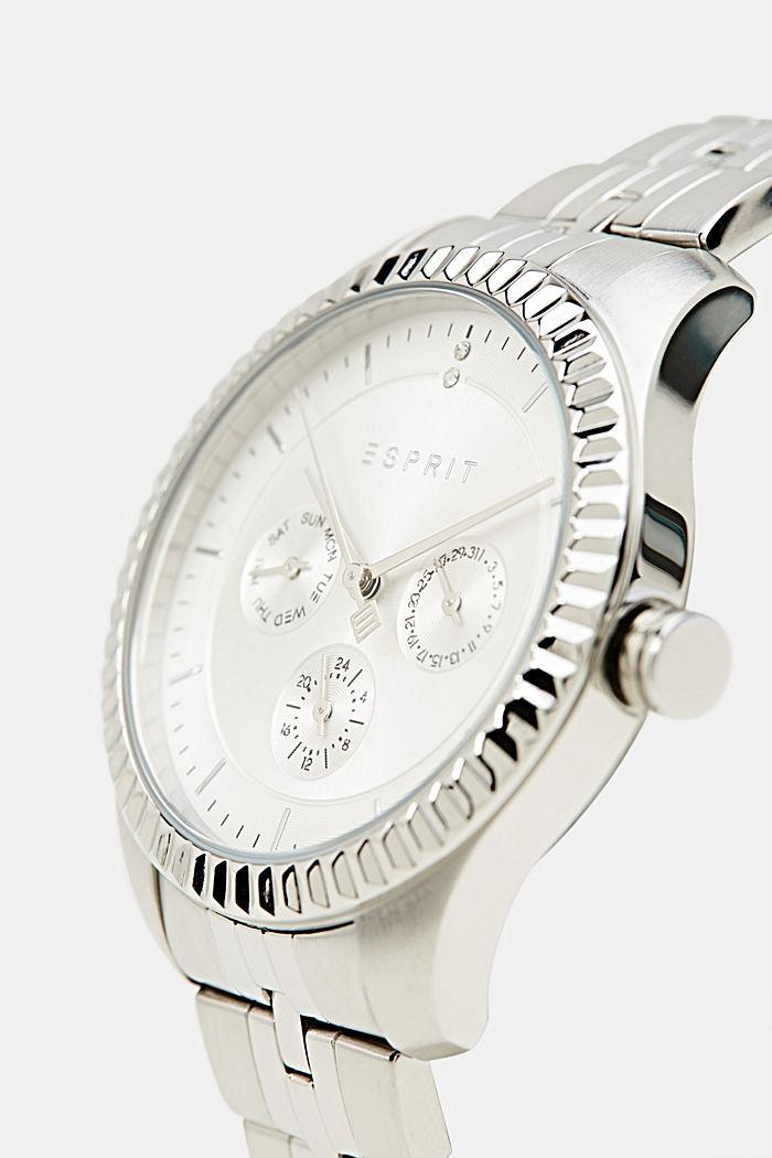 Multifunctioneel horloge met geribbelde horlogering, SILVER, detail image number 3