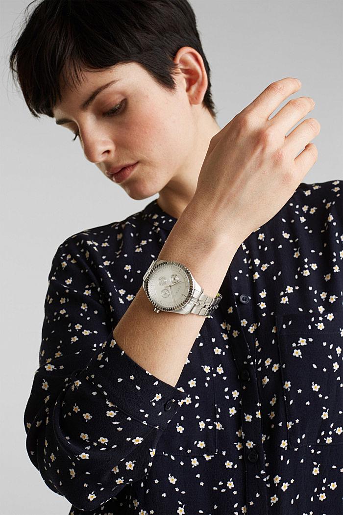 Multifunctioneel horloge met geribbelde horlogering, SILVER, detail image number 2