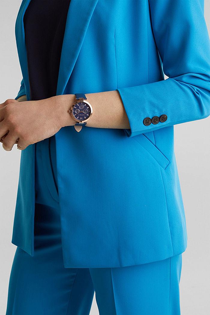 Multifunktionsuhr mit Leder-Armband, BLUE, detail image number 2