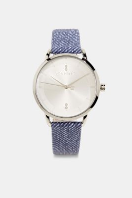Watch with leather strap, stainless steel, BLUE, detail