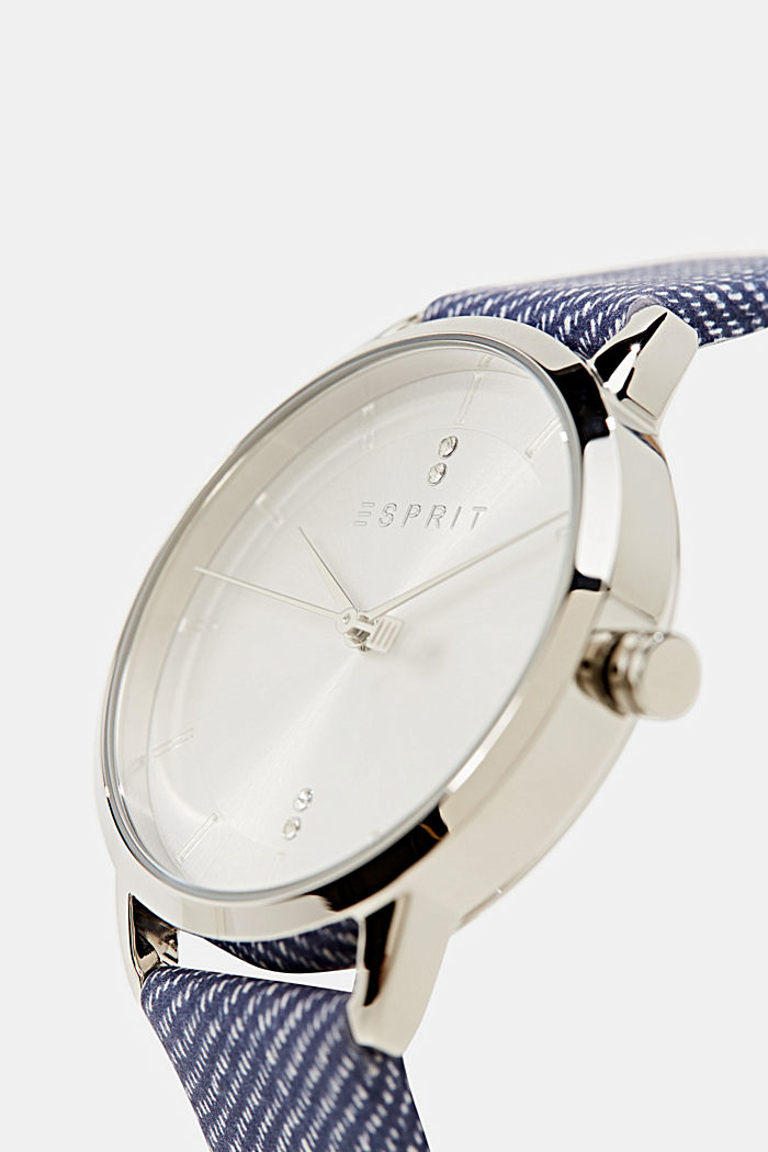 Watch with leather strap, stainless steel, BLUE, detail image number 1