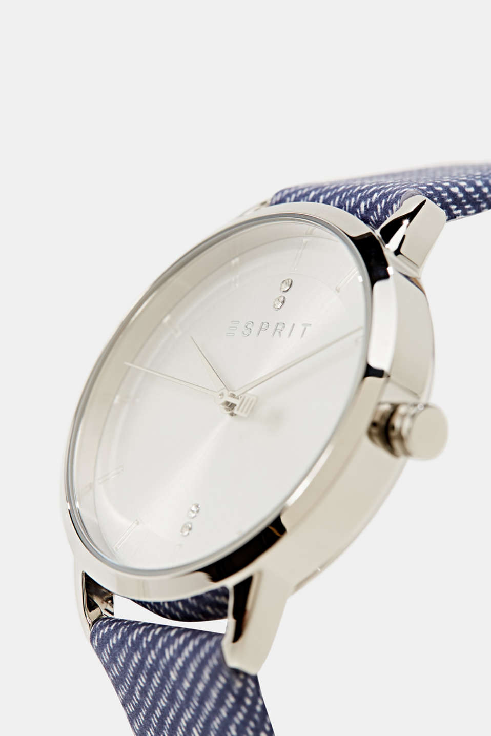 Watch with leather strap, stainless steel, LCBLUE, detail image number 1