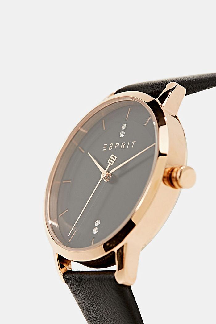 Uhr mit Zirkonia, Edelstahl, BLACK, detail image number 1