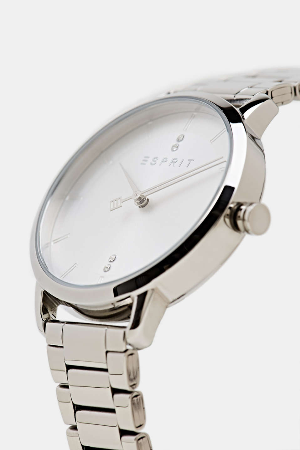 Stainless steel watch with zirconia, LCSILVER, detail image number 1