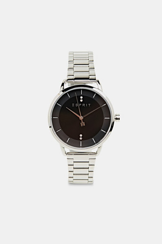 Stainless steel watch with a link bracelet and zirconia
