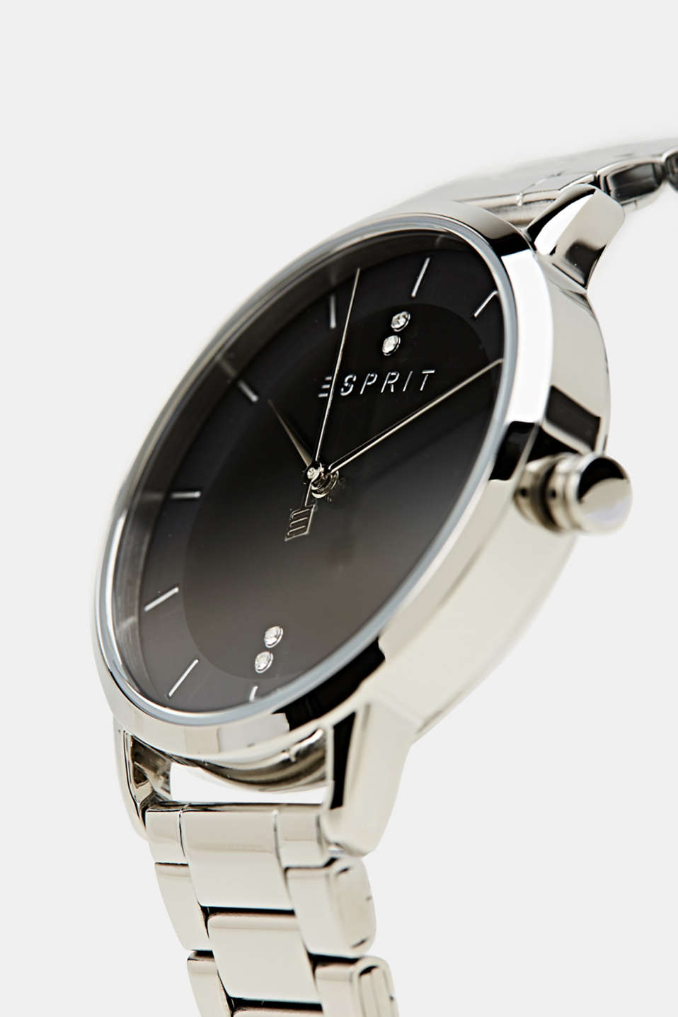 Stainless steel watch with a link bracelet and zirconia, LCSILVER, detail image number 1
