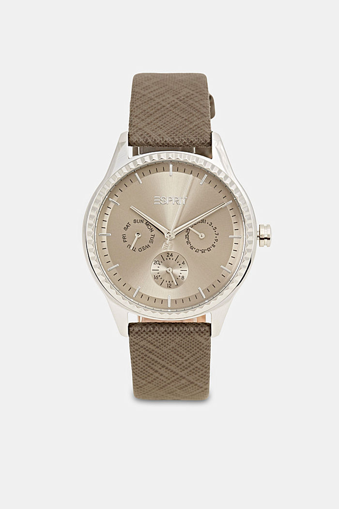Multi-function watch with a Saffiano leather strap