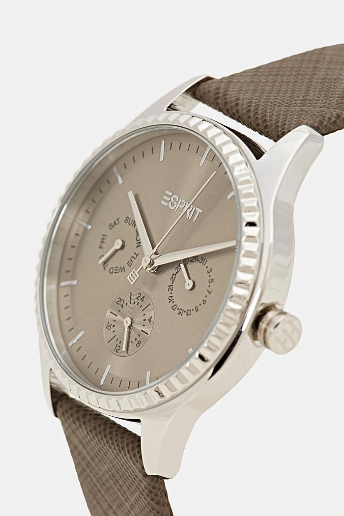 Montre multifonction dotée d'un bracelet en cuir Saffiano, BROWN, detail image number 1