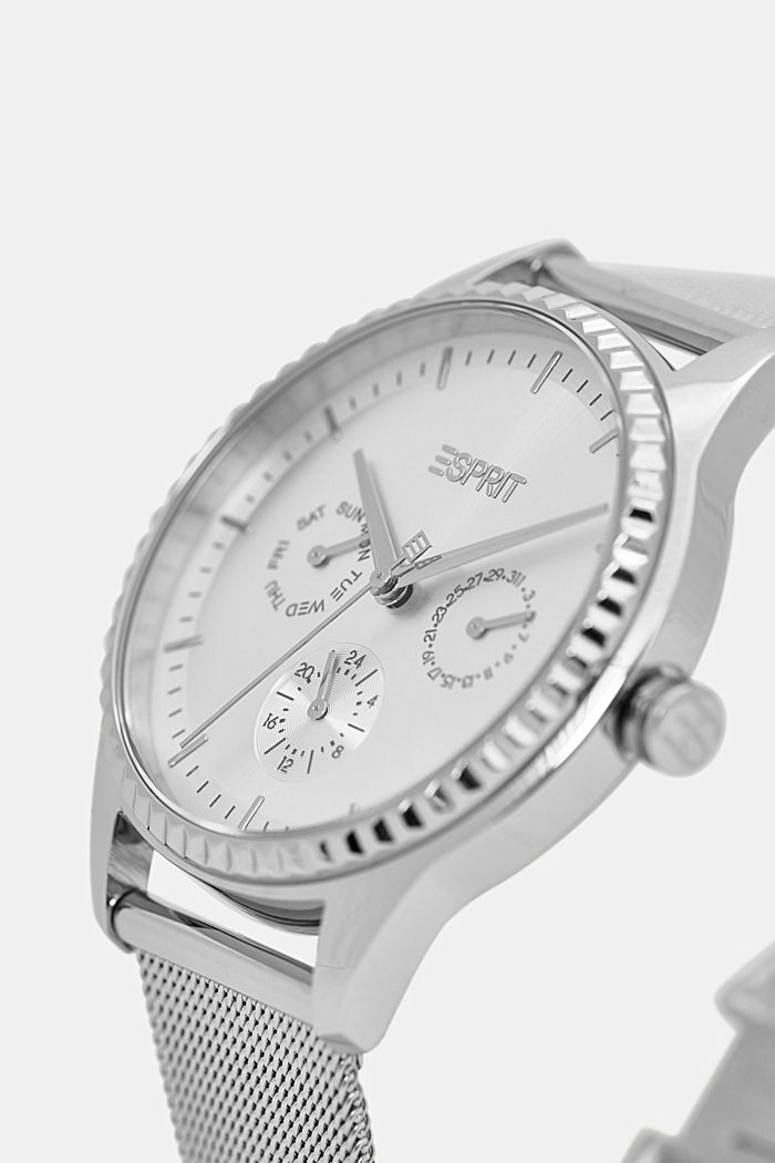 Multi-functional watch with a Milanese strap, SILVER, detail image number 1