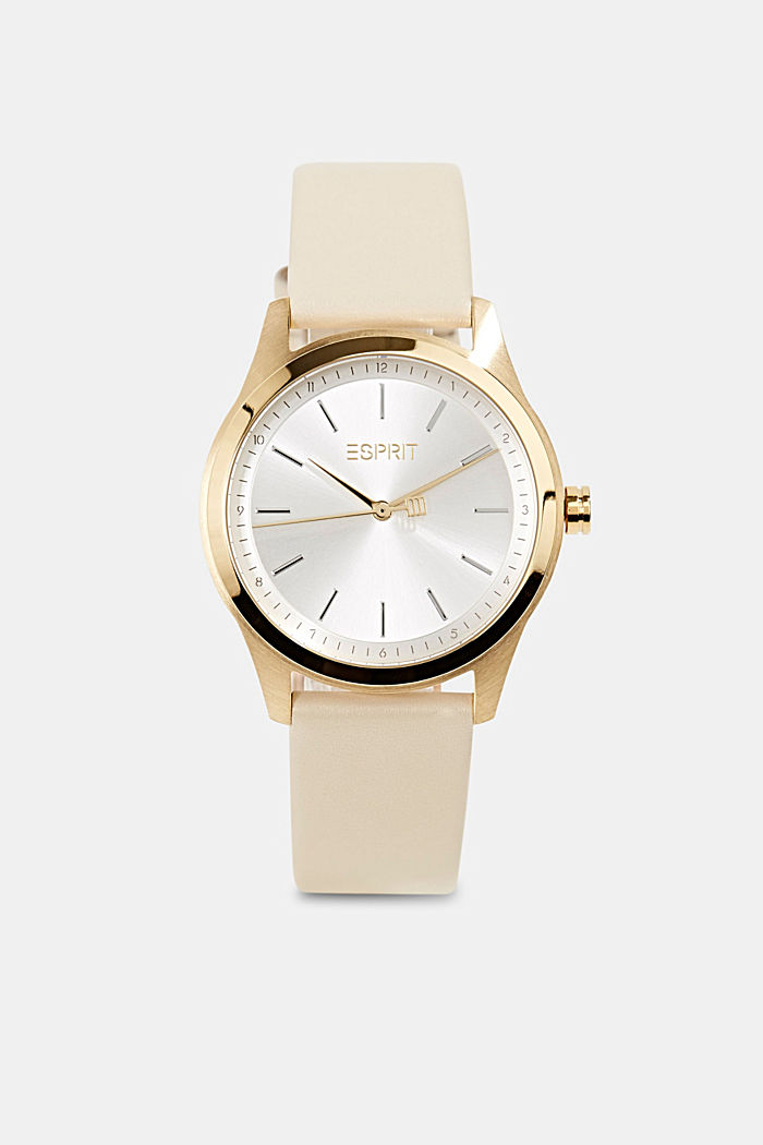 Gold-plated stainless steel watch with leather strap